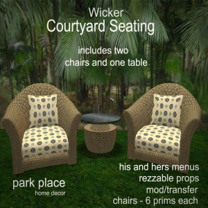 [Park Place] Wicker Courtyard Seating